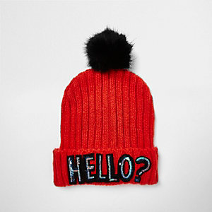 Bright red sequin slogan bobble hat