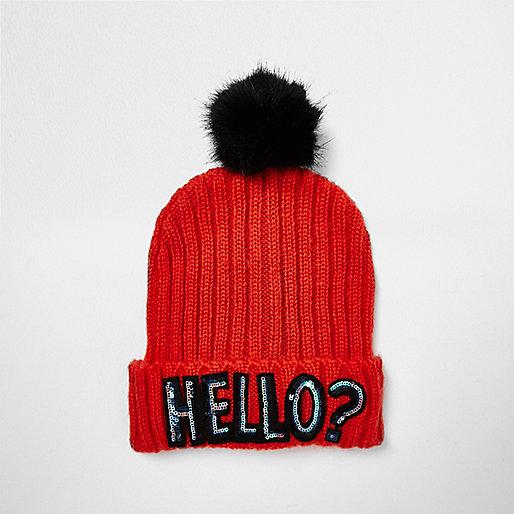 Bright red sequin slogan bobble hat