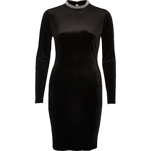 Black velvet embellished mini dress