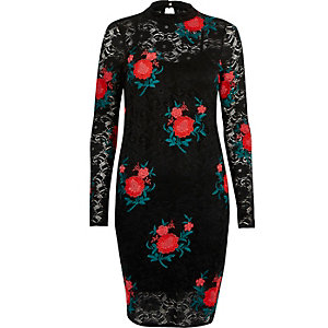 Black rose embroidered lace mini dress