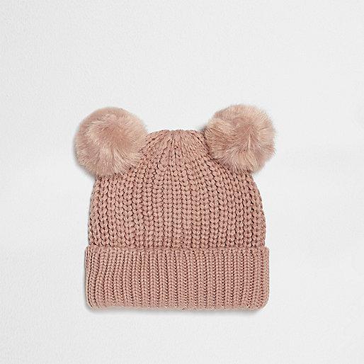 Bonnet rose à deux pompons