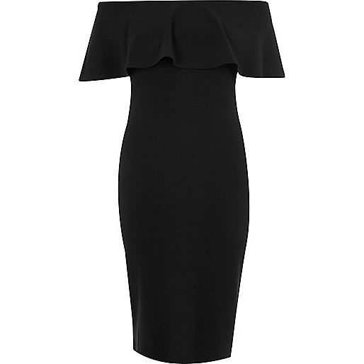 Black frill bardot bodycon dress