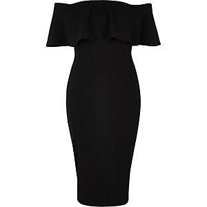 Black frill bardot bodycon dress
