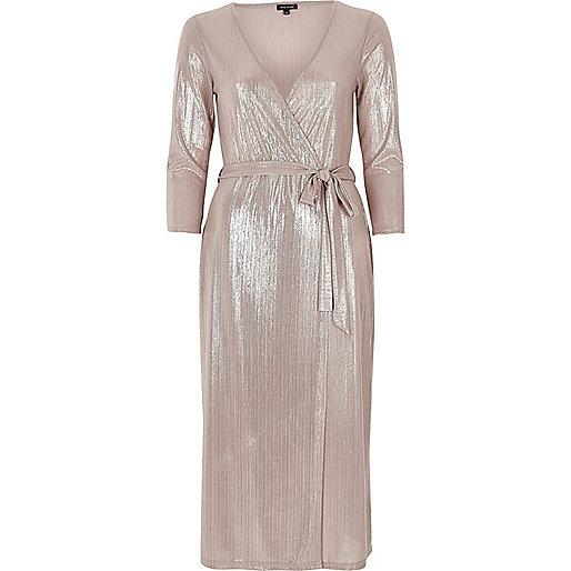 Metallic pink plunge wrap dress