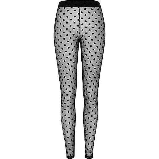 Black polka dot lace leggings