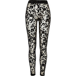 Black floral lace leggings