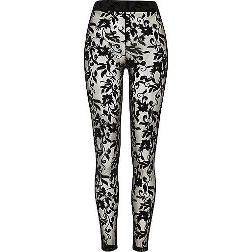 Black floral lace leggings