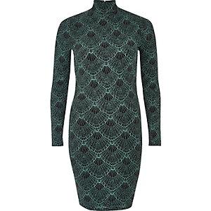 Green sparkly turtleneck mini dress