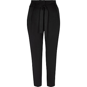 Black soft satin tie waist tapered pants