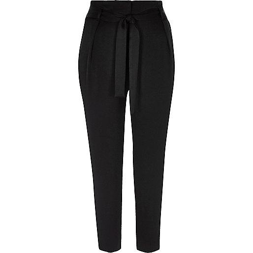 Black soft satin tie waist tapered pants