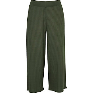 Khaki green soft ribbed culottes