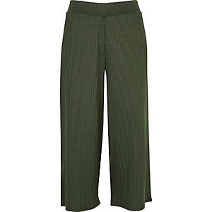 Jupe-culotte vert kaki côtelée douce