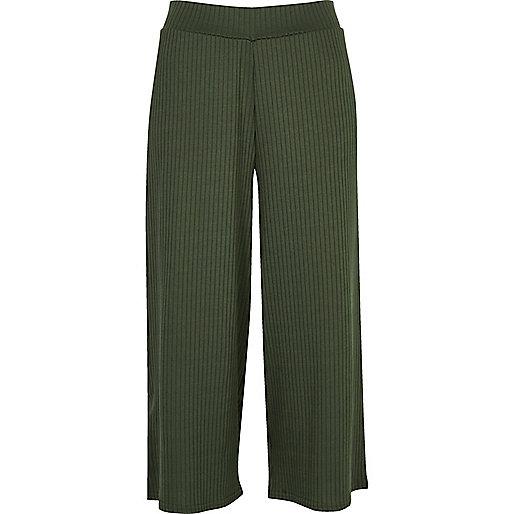 Khaki green soft ribbed culottes