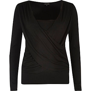 Black ruched wrap top