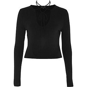 Black string choker top