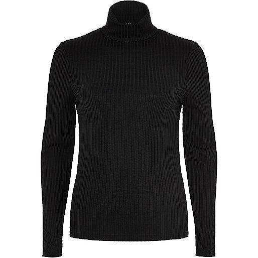 Black ribbed turtleneck top