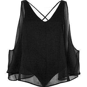 Black chiffon strappy bodysuit