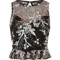 Black embroidered chiffon peplum top