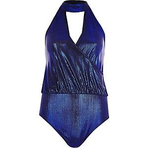 Body ras-de-cou bleu métallisé à décolleté plongeant