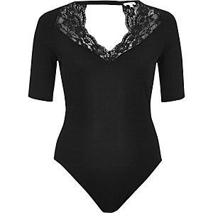 Black lace trim bodysuit