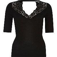 Black lace trim top