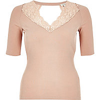 Blush pink lace trim top