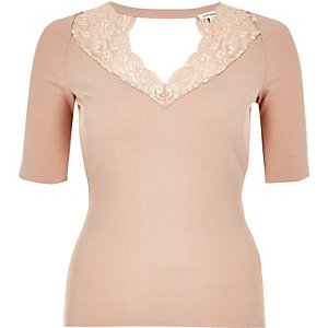 Blush pink lace trim top