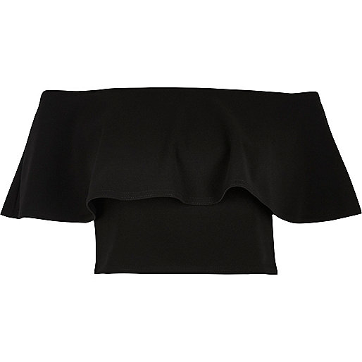 Black frill bardot crop top