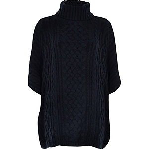 Navy blue cable knit poncho