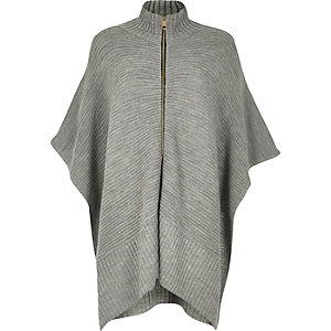 Grey ribbed zip poncho