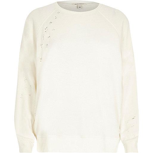Cream nibbled sweatshirt