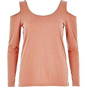 Pink long sleeve cold shoulder top