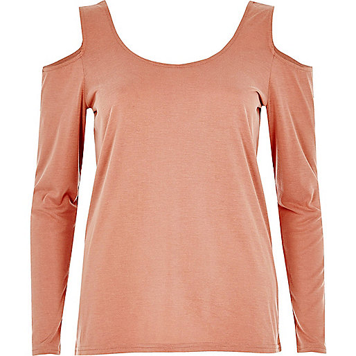 Pink long sleeve cold shoulder top