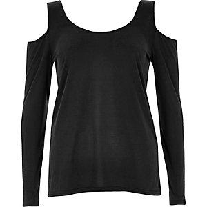 Grey long sleeve cold shoulder top