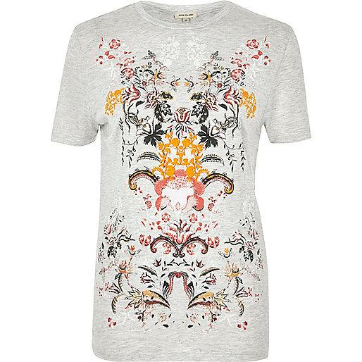 Grey floral puff print T-shirt