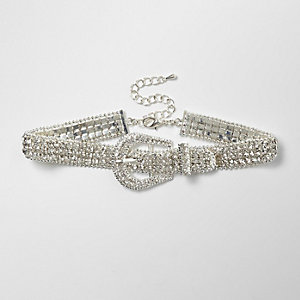 Silver tone sparkly buckle choker