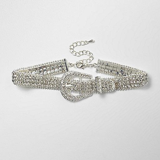 Glitzerndes Halsband mit Schnalle in Silber