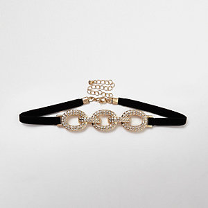 Gold tone encrusted triple knot choker