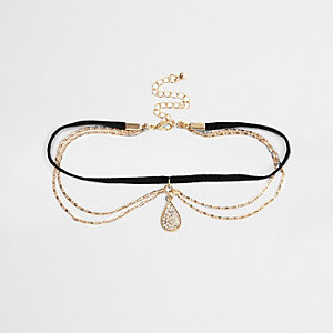 Gold tone emerald teardrop choker