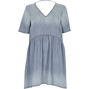 Light blue denim smock dress