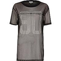 """Schwarzes Mesh-T-Shirt mit """"90""""-Print und Nieten"""