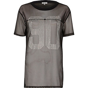 Black 90 mesh stud T-shirt
