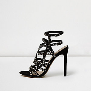 Black embellished strappy heels