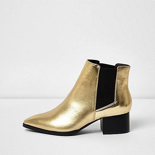 Goldene Chelsea-Stiefel mit Blockabsatz