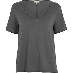 Grey scoop V-neck T-shirt