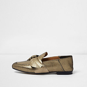Gold leather bow front loafers