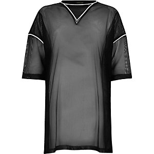 T-shirt oversize en tulle transparent noir