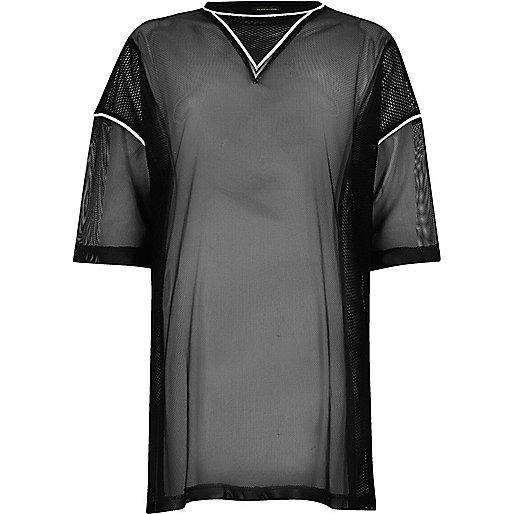 Oversized-T-Shirt aus transparentem Netzstoff