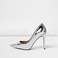 Silver patent wide fit court shoes