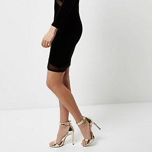 Gold wide fit strappy barely there heels